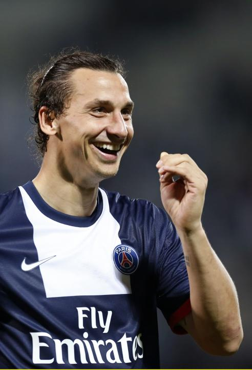 Paris Saint Germain's Ibrahimovic celebrates after his team won their French Ligue 1 soccer match against Olympique Marseille in Marseille