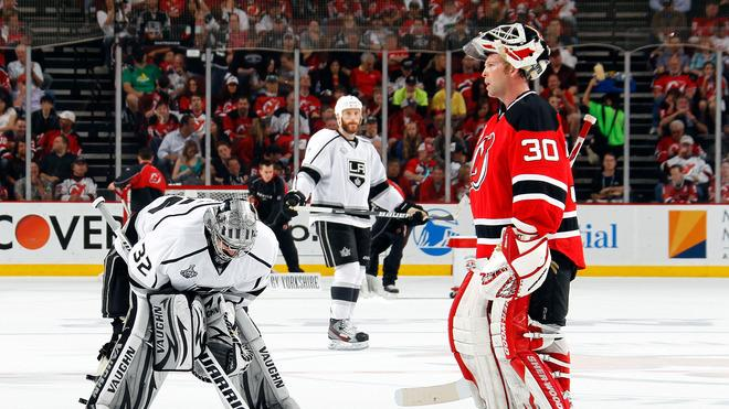 Jonathan Quick #32 Of The Los Angeles Kings And Martin Brodeur #30 Of The New Jersey Devils Look On  Getty Images