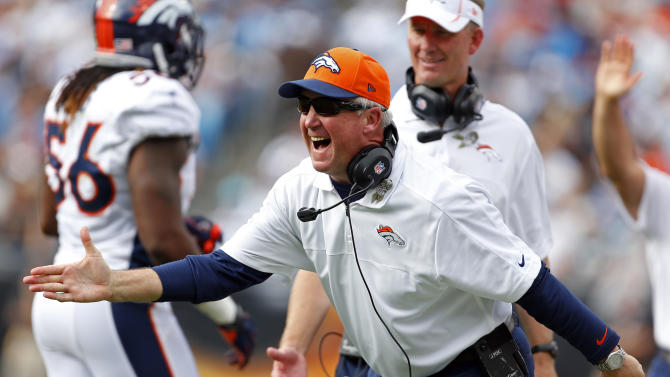 Denver Broncos head coach John Fox reacts after Trindon Holliday's punt return for a touchdown against the Carolina Panthers during the first half of an NFL football game in Charlotte, N.C., Sunday, Nov. 11, 2012. (AP Photo/Bob Leverone)