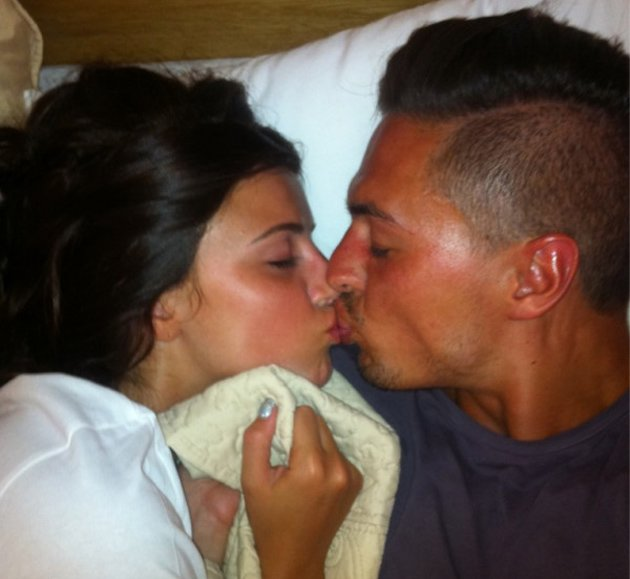 Lucy Mecklenburgh and Mario Falcone sharing a kiss