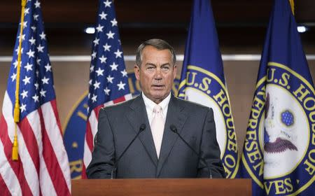 Speaker of the House John Boehner speaks to the media on Capitol Hill in Washington