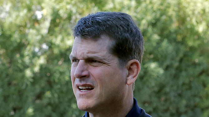 San Francisco 49ers head coach Jim Harbaugh arrives for NFL football annual meetings at the Arizona Biltmore, Monday, March 18, 2013, in Phoenix. (AP Photo/Matt York)