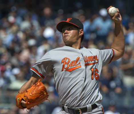 Baltimore Orioles Wei-Yin Chen pitches to New York Yankees in MLB game in New York
