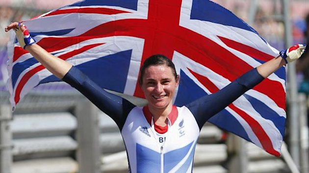 Sarah Storey of Britain celebrates after winning the Women's Time Trial C5 during the London 2012 Paralympic Games