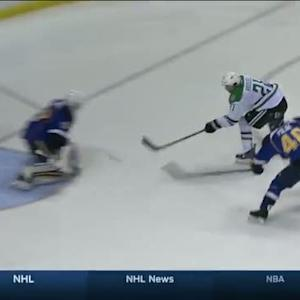Roussel's shot trickles in on a breakaway