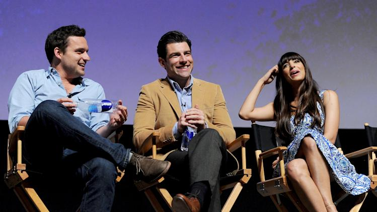 "Actors Jake Johnson (left), Max Greenfield (center) and Hannah Simone participate in FOX's ""New Girl"" screening and Q&A at the Academy of Television Arts & Sciences' Leonard H. Goldenson Theater on Tuesday, April 30, 2013 in North Hollywood, California. (Photo by Frank Micelotta/Invision for FOX/AP Images)"