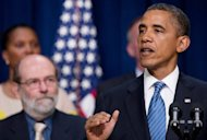U.S. President Barack Obama speaks about tax legislation facing Congress at the Eisenhower Executive Office Building in Washington, DC. The US economy created a solid 163,000 jobs in July, official data showed Friday, helping President Barack Obama dull Republican attacks despite a slight uptick in the jobless rate