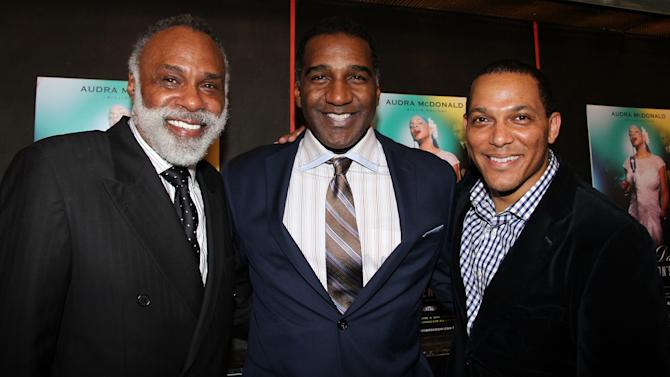 "In this undated photo, singer and ""The Phantom of the Opera"" star Norm Lewis, center, is flanked by producer and musical supervisor Chapman Roberts, left, and producer David Greer. All three are getting ready for ""The Black Stars of the Great White Way"" concert at Carnegie Hall on Monday night to celebrate the legacy of African-American men on Broadway. (AP Photo/Lisa Pacino)"