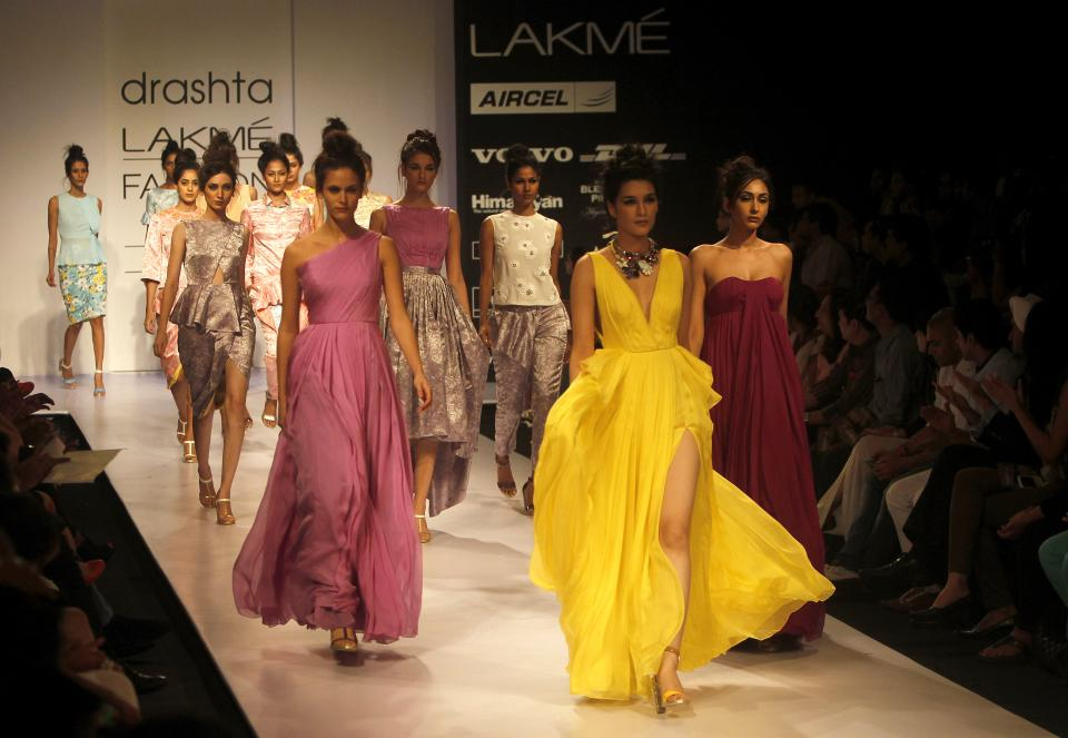 Indian models display creations by Drashta during the Lakme Fashion Week in Mumbai, India, Saturday, Aug. 4, 2012. (AP Photo/Rafiq Maqbool)