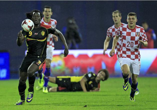 Belgium's Lukaku runs to score his second goal against Croatia during their 2014 World Cup qualifying soccer match at Maksimir stadium in Zagreb