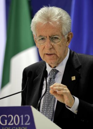 Italy's Prime Minister Mario Monti speaks at a press conference during the G20 summit in Los Cabos, Mexico, Tuesday, June 19, 2012. (AP Photo/Eduardo Verdugo)
