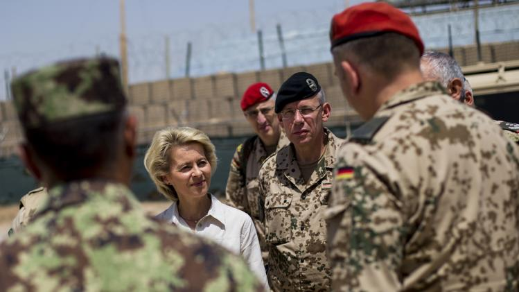 German Defence Minister von der Leyen visits Camp Shaheen outside Mazar-i-Sharif