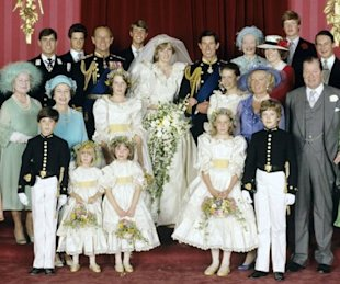 Princess Diana and her bridesmaids all wore white. Photo by AP.