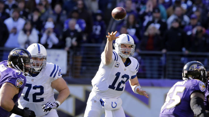 Indianapolis Colts quarterback Andrew Luck throws a pass during the first half of an NFL wild card playoff football game against the Baltimore Ravens Sunday, Jan. 6, 2013, in Baltimore. (AP Photo/Alex Brandon)