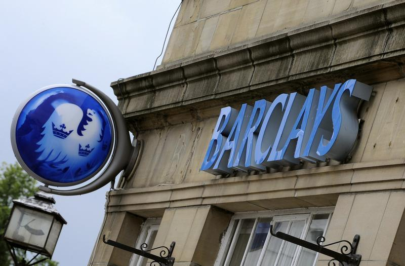 A branch of Barclays bank is seen in Boroughbridge, northern England