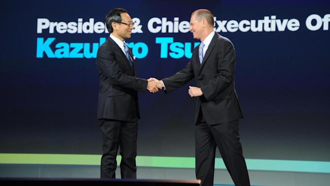 IMAGE DISTRIBUTED FOR PANASONIC - CEO of Panasonic, Kazuhiro Tsuga, left, and CEA president, Gary Shapiro, seen during the Panasonic keynote presentation at the International Consumer Electronics Show 2013, on Tuesday, Jan. 08, 2013, in Las Vegas, NV. (Photo by Al Powers/Invision for Panasonic/AP Images)