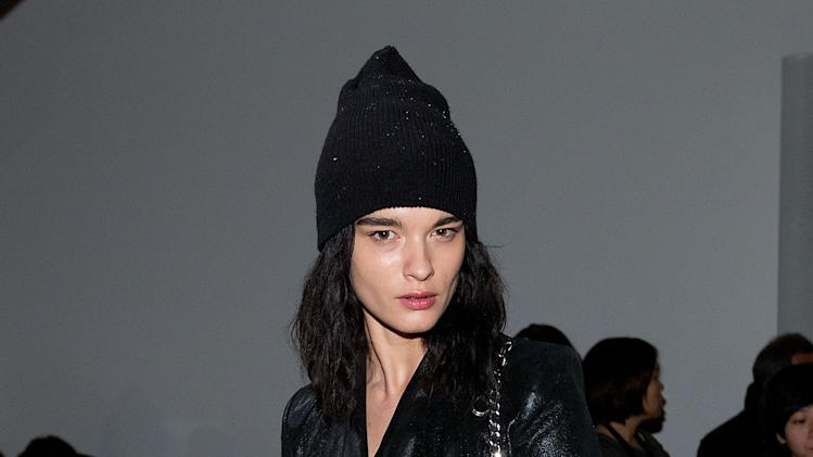 Model Crystal Renn attends the Fall 2013 Helmut Lang Runway Show on Friday, Feb., 8, 2013 during Fashion Week in New York. (Photo by Dario Cantatore/Invision/AP)