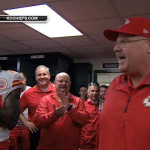 Kansas City Chiefs celebrate making the playoffs