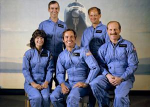 Astronauts of the STS-7/Challenger mission are left to right first row: Sally K. Ride (mission specialist), Robert L. Crippen (commander), Frederick H. Hauck (pilot); rear row: John M. Fabian (left) and Norman E. Thagard (mission specialists). STS-7 launched the first five-member crew and the first American female astronaut into space on June 18, 1983.