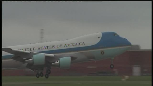 Air Force One lands in Okla.