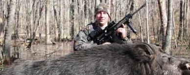 Man bags 500-pound wild boar in North Carolina (White Oak Ranch Hunting Club)