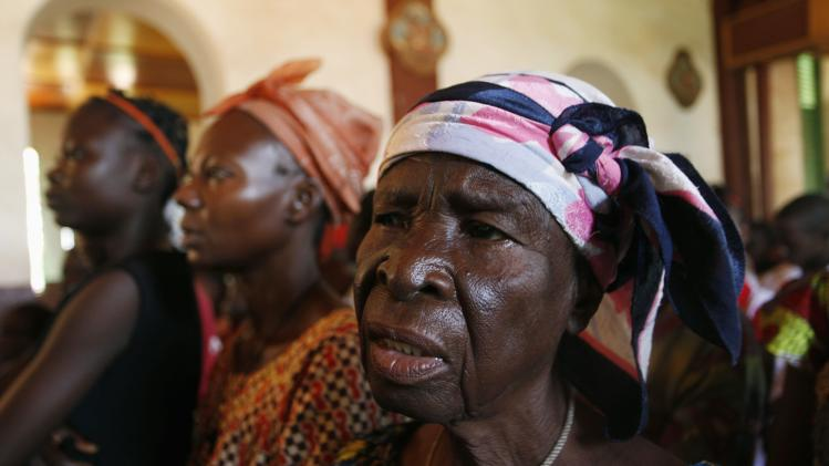 People attend mass at St. Paul's church in Bangui