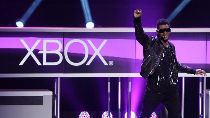 Singer Usher performs to introduce Xbox 360 music video game 'Dance Central Three' for the Xbox 360 with Kinect, at the Microsoft Xbox E3 2012 media briefing in Los Angeles, Calif., Monday, June 4, 2012. The 2012 E3 Electronic Entertainment Expo runs from June 5-7 in Los Angeles. ( AP Photo/Damian Dovarganes)