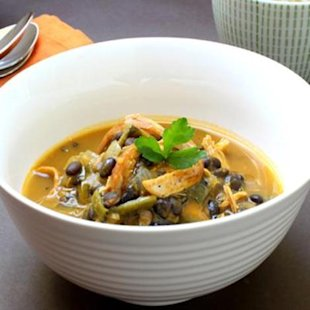 Chicken, poblano, pumpkin, and black bean soup