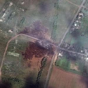 A satellite image shows the crash site of Malaysia…