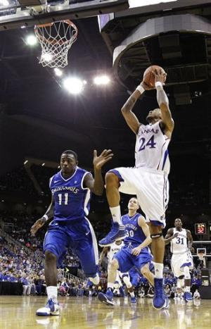 Withey leads No. 12 Jayhawks past Saint Louis