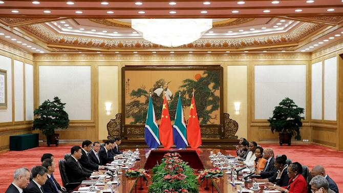 Chinese President Xi Jinping meets with South African President Jacob Zuma at the Great Hall Of the People in Beijing