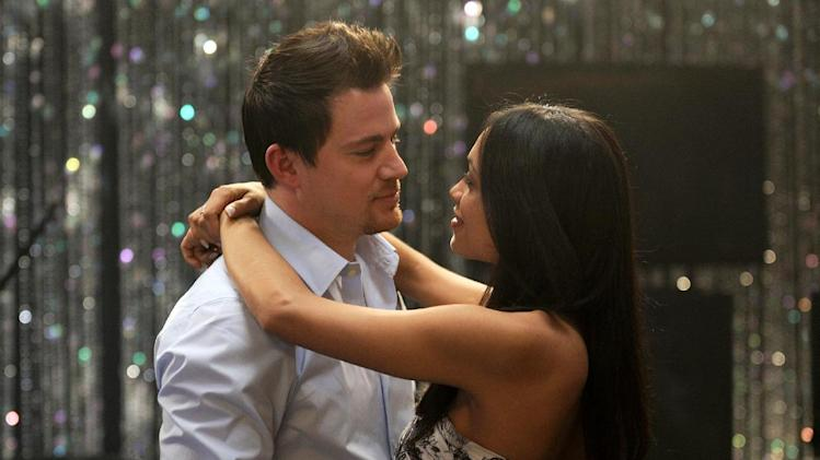"FILE - This file photo released by Anchor Bay Films shows Channing Tatum, left, and Rosario Dawson in a scene from ""10 Years."" (AP Photo/Anchor Bay Films, Colleen Hayes, File)"