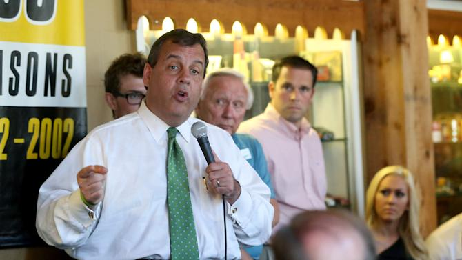 FILE - In this July 31, 2015 file photo, Republican presidential candidate New Jersey Gov. Chris Christie speaks during a campaign stop at the Shot Tower Inn in Dubuque, Iowa. Republican presidential candidates dismissed the dominance of Donald Trump in early primary polling, scrambling to position themselves days before their first debate. (Jessica Reilly/Telegraph Herald via AP, File) MANDATORY CREDIT