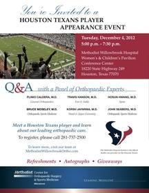 Houston Texans Player Appearance Event at Methodist Willowbrook Hospital - Public Invited to Attend