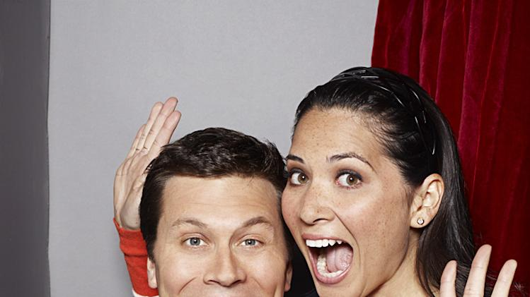 "Hayes MacArthur as Rex, Olivia Munn as Leigh in ""Perfect Couples."""
