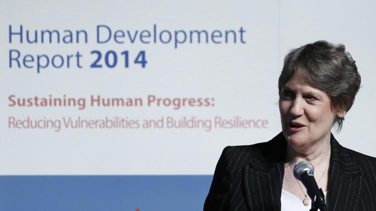 UNDP Administrator Clark gives speech during announcement event of Global Launch of Human Development Report 2014 at United Nations University Headquarters in Tokyo