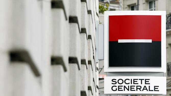 General view of a the logo outside a branch of French bank Societe Generale in Paris