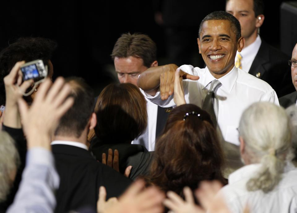 President Barack Obama greets supporters after speaking at a campaign fundraiser at the University of Vermont in Burlington, Vt., Friday, March, 30, 2012. (AP Photo/Pablo Martinez Monsivais)