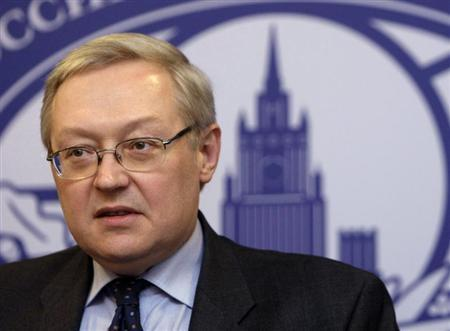 Russia's Deputy Foreign Minister Sergei Ryabkov speaks during a news briefing in the main building of Foreign Ministry in Moscow