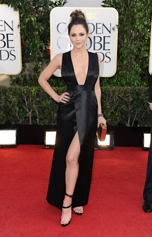 Actress Katharine McPhee arrives at the 70th Annual Golden Globe Awards at the Beverly Hilton Hotel on Sunday Jan. 13, 2013, in Beverly Hills, Calif. (Photo by Jordan Strauss/Invision/AP)