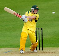 David Warner cuts away on his way to 74 at Grace Road