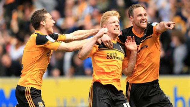Hull City celebrate Paul McShane's goal (PA Photos)