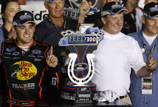 Austin Dillon, left, celebrates with his grandfather Richard Childress in the winner's circle of the NASCAR Nationwide auto race at Kentucky Speedway in Sparta, Ky., Friday, June 29, 2012. (AP Photo/J