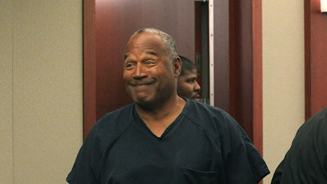 O.J. Simpson appears at Clark County Regional Justice Center in Las Vegas, Monday, May 13, 2013. Simpson, who is currently serving a nine-to-33-year sentence in state prison as a result of his October 2008 conviction on armed robbery and kidnapping charges, is seeking a new trial, claiming that trial lawyer Yale Galanter had conflicted interests and shouldn't have handled Simpson's armed case. (AP Photo/Las Vegas Review-Journal, Jeff Scheid, Pool)