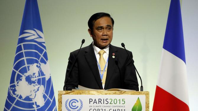 Thailand's Prime Minister Chan-ocha delivers a speech during the opening session of the World Climate Change Conference 2015 (COP21) at Le Bourget