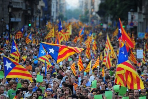<p>Supporters of independence for Catalonia demonstrate in Barcelona. More than a million people swamped Barcelona on Tuesday demanding independence for Catalonia from the rest of crisis-struck Spain, police said.</p>