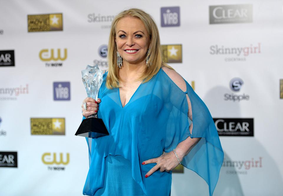 "Jacki Weaver poses backstage with the award for best comedy movie for ""Silver Linings Playbook"" at the 18th Annual Critics' Choice Movie Awards at the Barker Hangar on Thursday, Jan. 10, 2013, in Santa Monica, Calif. (Photo by John Shearer/Invision/AP)"