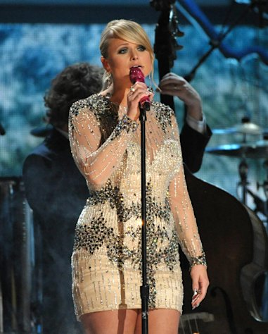 FILE - In this Sunday, Feb. 10, 2013 file photo, Miranda Lambert performs at the 55th annual Grammy Awards, in Los Angeles. Lambert is a nominee with five nominations at the upcoming 48th annual Academy of Country Music Awards. The show will broadcast live on CBS from the MGM Grand Garden Arena in Las Vegas on Sunday, April, 8, 2013. (Photo by John Shearer/Invision/AP, File)
