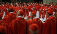 "Cardinals attend a mass in St. Peter's Basilica at the Vatican March 12, 2013. All cardinals, including those over 80 who will not vote in the conclave, celebrate Mass in St Peter's Basilica to pray for the election of the new pope. The Mass is called ""Pro Eligendo Romano Pontefice"" (""For the Election of the Roman Pontiff"") and is open to the public. REUTERS/Stefano Rellandini"