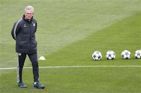 File photo of Bayern Munich's coach Heynckes during a training session in Turin